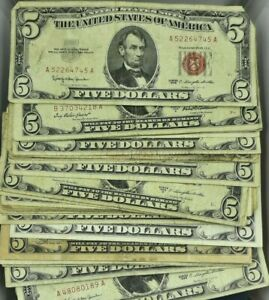 $5 RED SEAL NOTES  • WELL CIRCULATED ASSORTED DATES 5 NOTES EACH LOT