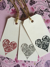*10* WHITE LOVE HEART WEDDING LABELS WISH TREE TAGS PLACE CARDS GIFT TAGS