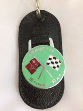 Vintage Leather Torpedo Key Ring/Keychain Corvette Sting Ray, Green