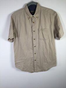 Eddie Bauer mens beige button up shirt size M short sleeve cotton good condition