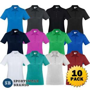 10 x Ladies Aero Polo Shirt Women Top Golf Work Lightweight Tennis Sports P815LS