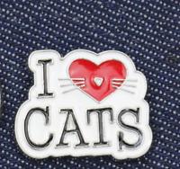 Cat Brooch Pin Badge Enamel Gift Cat Lover I Love Cats Heart Silver Jewellery UK