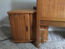 Broyhill wicker headboard with 2 nightstands tan color