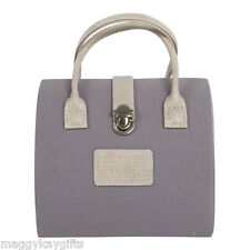 Grey Handbag Shaped Jewellery Case - Box Storage Travel Carry Bag Organiser