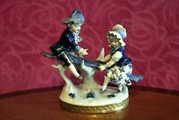Antique Rudolstadt-Volkstedt Germany Blue Gold Porcelain Figurine Boy and Girl
