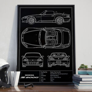 Honda S2000 AP2 JDM Blueprint Art Poster 17x24 inch size