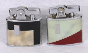 "(2) Vintage CONTINENTAL CMC Enamel ART DECO Pocket Cigarette Torch Lighter 2""H"
