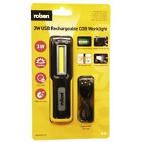 Rolson 3W USB Rechargeable Torch Flexible Inspection Lamp COB Worklight - 61467