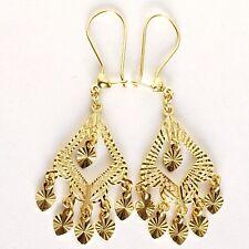 14k gold dangling  heart gypsy chandelier long filigree Earrings 1.75 inch