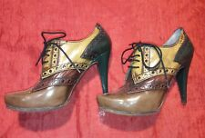 Vintage STEAMPUNK PURA LOPEZ STILETTO 11 CM TG. 40 MADE IN SPAIN GENUINE LEATHER