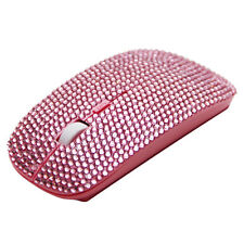 WIRELESS BLING CRYSTAL DIAMANTE RHINESTONE COMPUTER LAPTOP PC USB MOUSE PINK