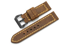 24mm Brown Genuine Leather Watch Steel Black PVD Buckle Band Strap For Panerai