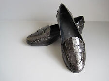 THEORY Crocodile Embossed Black Leather Loafers - Women's size 9 1/2M - RV $138