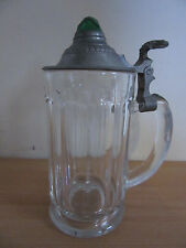 Antique German Stone Glass, Pewter w/ Green Jewel Lidded Beer Stein