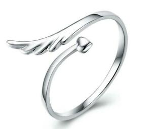 Thin Dot Ring With Angel Wings Elegant Silver Ring Sterling Silver Ring Angel Wings Ring Silver Ring 925