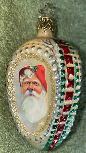 Santa Christmas Tree Ornament - Three Sided Ball Glass Ornament