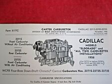 1956 CADILLAC ELDORADO & All 2 CARB Models, CARTER CARBURETOR SPEC & INFO SHEET