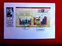 THE STAMP SHOW 2000 OVERPRINTED TOWARDS FEDERATION M/S  POSTMARK LARGE COVER
