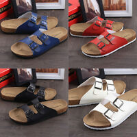 Women's Slide Buckle T-Strap Cork Footbed Platform Flip Flop Shoes Sandals NEW