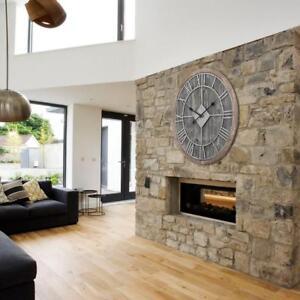 Wall Clock 28 in. Diameter Oversized Roman Round Analog in Gray Wood Finish