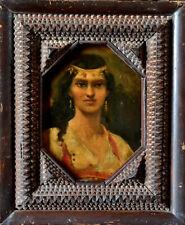 PORTRAIT DE FEMME ORIENTALISTE FIN XIXe HUILE SUR PANNEAU TABLEAU ANCIEN CADRE