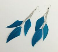 Light blue feather silver tone long drop dangle earrings with hooks fashion