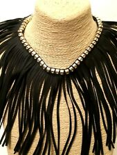 STATEMENT Gold Black Faux Leather TASSEL Bib Collar Crystal Necklace BIG LARGE