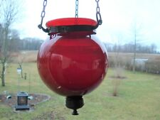 Antique Victorian Ruby Red Blown Glass Globe Hanging Ceiling Lamp Chandelier