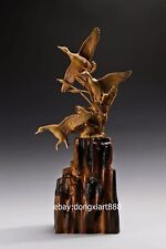 63 cm Chinese Boxwood Masterwork Three Gragasa Wild Geese Animal wood sculpture