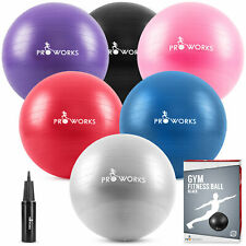 Proworks Exercise Ball, 55-85cm Anti-Burst Gym,Yoga & Fitness Ball with Pump