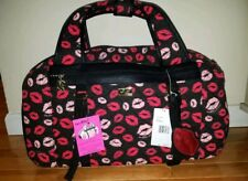 New Betsey Johnson Quilted Lips Weekender Bag Valentines Day Gift Black & Red