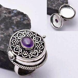 Amethyst Ethnic Handmade Poison Ring Jewelry US Size-8.5 AR 39692
