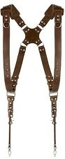 Coiro Dual Leather Camera Harness Padded Adjustable Quick Release Strap Brown