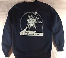 Appaloosa Barrel Horse Sweatshirt See Spot Run 90's Era Navy Sz Large