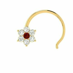 0.25 Ct Round Cut Diamond And Red Ruby Nose Pin 14K White Gold Over