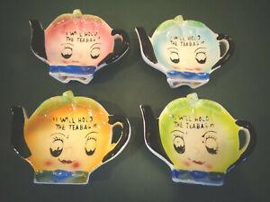 4 VINTAGE ANTHROPOMORPHIC I WILL HOLD THE TEABAG CERAMIC TEA BAG HOLDERS JAPAN