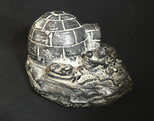 Soapstone Wolf Original Eskimo & Seal Sculpture WF w/ iglo Made in Canada EXCL