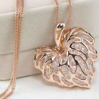 Women Hollow Gold Silver Crystal Rhinestone Pendant Long Chain Necklace Newly