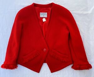 ~ VINTAGE CHANEL RED TWEED BOUCLE JACKET (OMG!!!!!!)  ~ F 38
