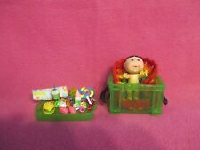 "2-1/2"" CABBAGE PATCH GIRL BLACK HAIR * BABY LOVE TOTES * MINIATURE ACCESSORY LOT"