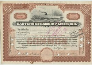 Eastern Steamship Lines Inc. Stock Certificate Maine