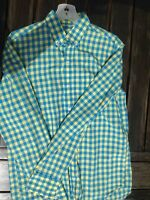 J CREW SLIM Fit Gingham Shirt Mens size M Blue & yellow Check Plaid Lightweight