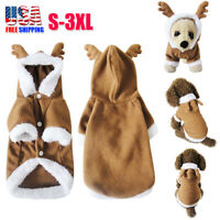 Dog Christmas Outfit Costumes Reindeer Hoodie Jacket Pet Cat Xmas Clothes Coat