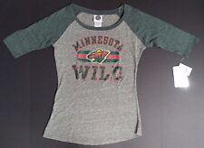 NEW NWT Minnesota Wild NHL Gray Grey Women's 3/4 Sleeve T-Shirt - Size M 7/9