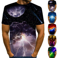Men's Casual 3D Printed T-Shirt Tops Sport Muscle O Neck Tee Blouse Short Sleeve
