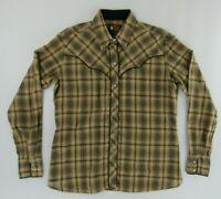 Kenny Rogers Mens Vintage Western Shirt 15/16 38 Brown Plaid Pearl Snap