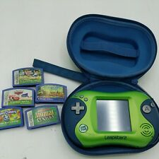 Leapster 2 Leap Frog Green System Bundle w 5 games and Case. Tested.