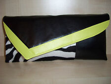 YELLOW, BLACK & ZEBRA print faux leather & velboa clutch bag made in UK.