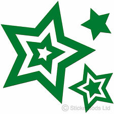 36 GREEN STAR STICKERS DECALS for Car | Wall | Home t6