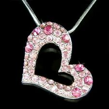w Swarovski Crystal Rose ~Pink Heart Love Valentine Charm Pendant Chain Necklace